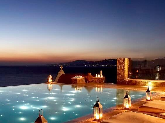 The infinity pool at Bill & Coo Suites in Mykonos